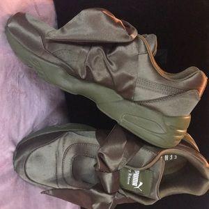 Fenty Puma Satin Bow Sneakers in Moss